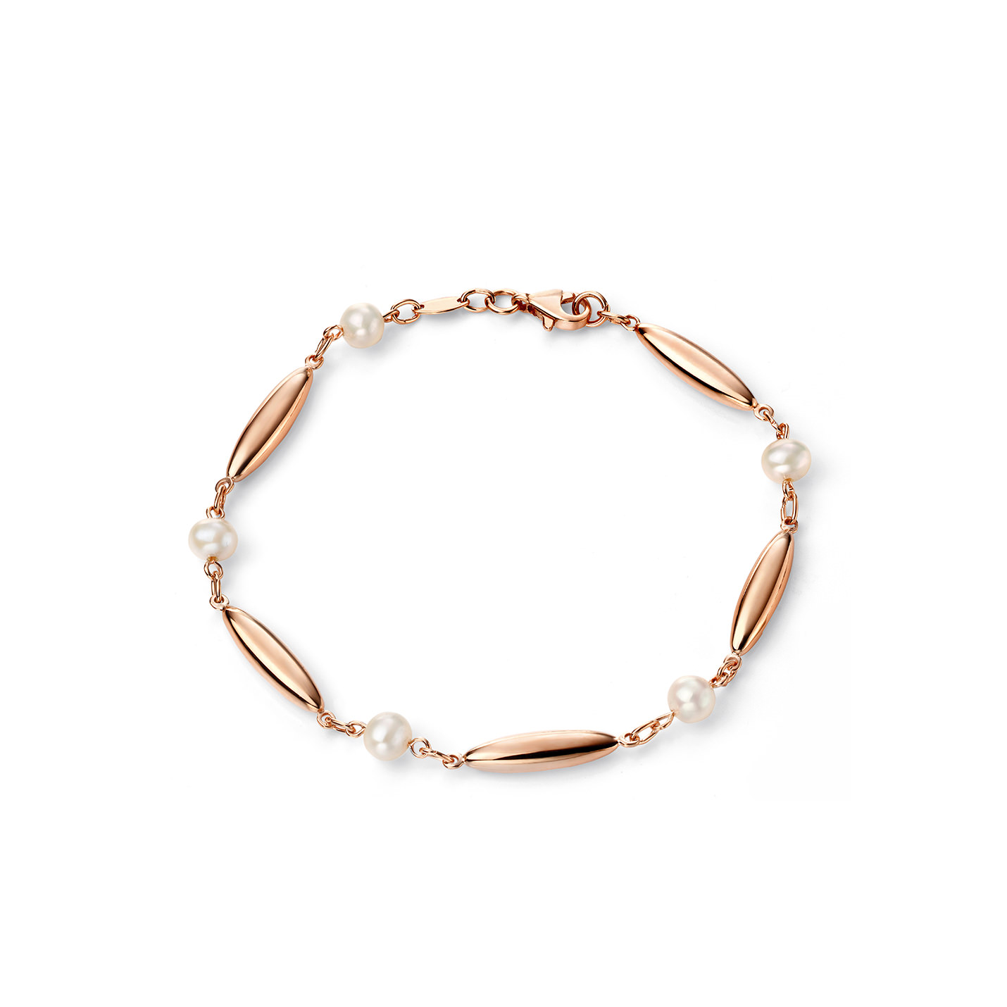 9ct. rose gold and pearl bracelet.  Length: 19cm