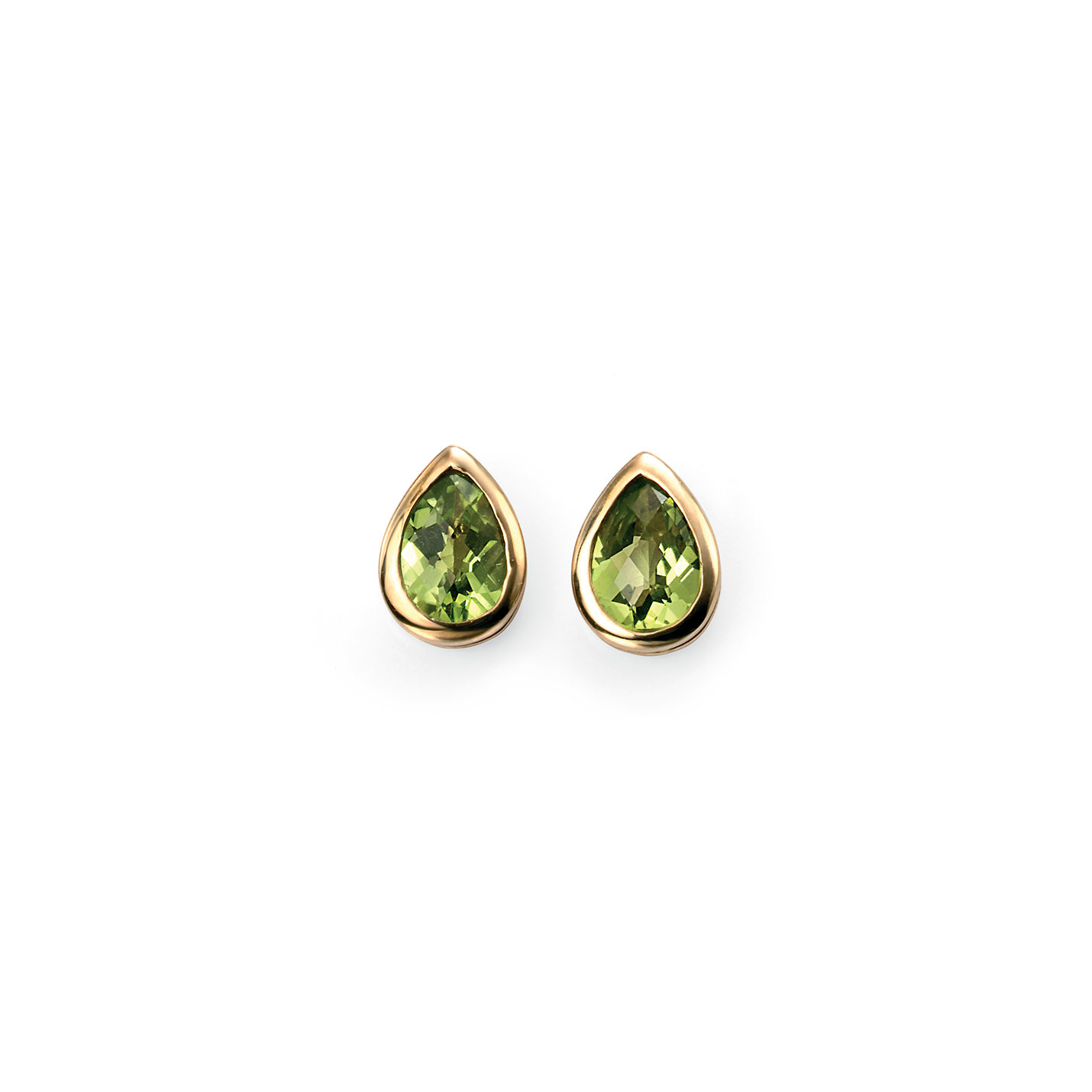 Vibrant green peridot gemstones set in a beautiful 9ct. yellow gold tear drop shape make for the perfect set of earrings.  Width: