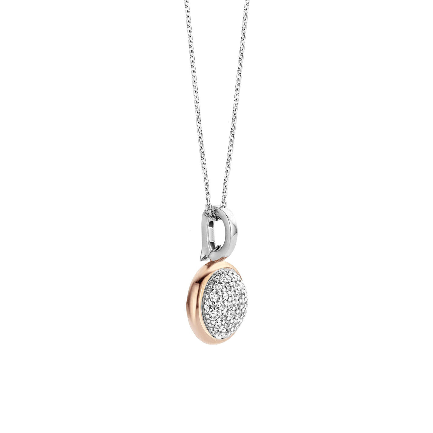 Ti Sento Pave & Rose Gold Necklace