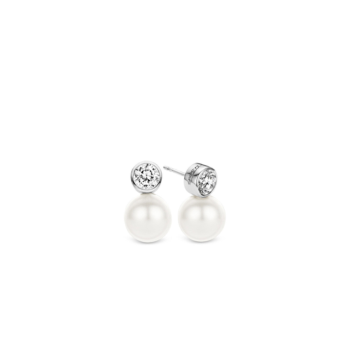 Ti Sento Pearl & CZ Stud Earrings