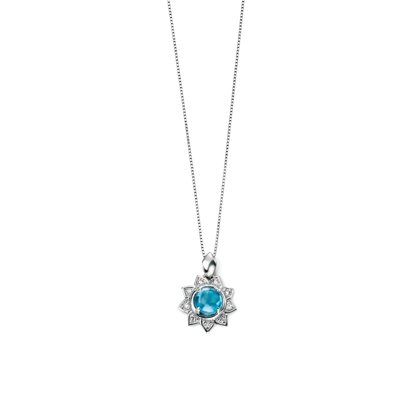 Blue Topaz & Diamond Flower Necklace