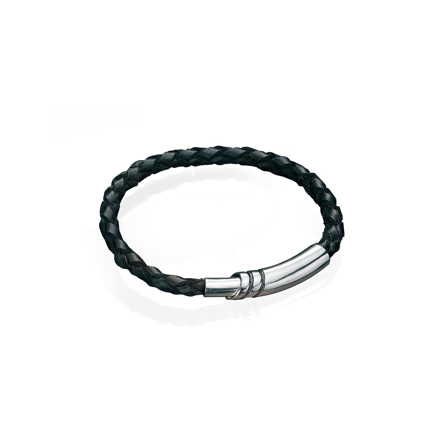 This narrow woven black leather gents bracelet has a sterling silver magnetic clasp.  Great for layering with another bracelet or a watch.