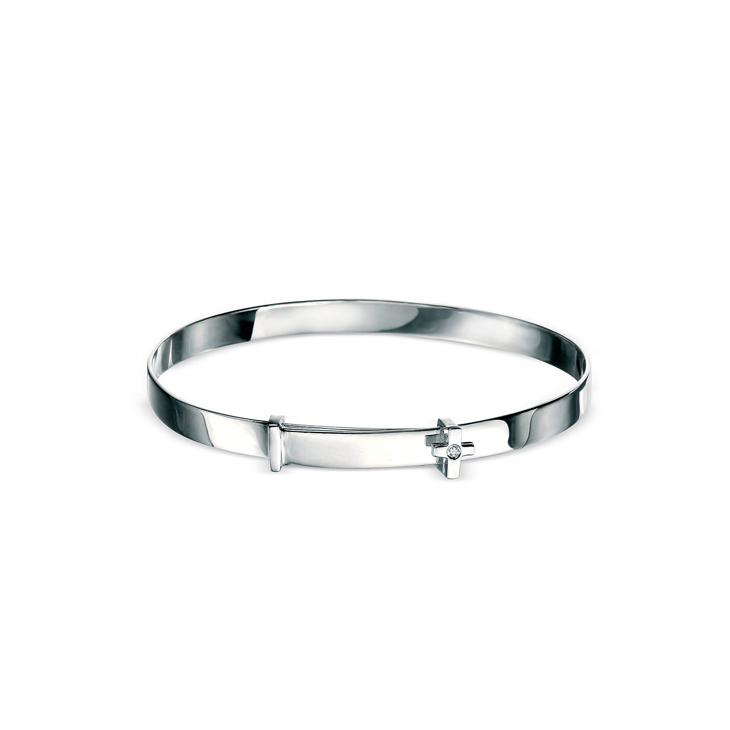 A sterling silver baby bangle by D for Diamond.  This full silver bracelet has a diamond and cross detail and is able to be engraved.  The perfect christening or first birthday gift.