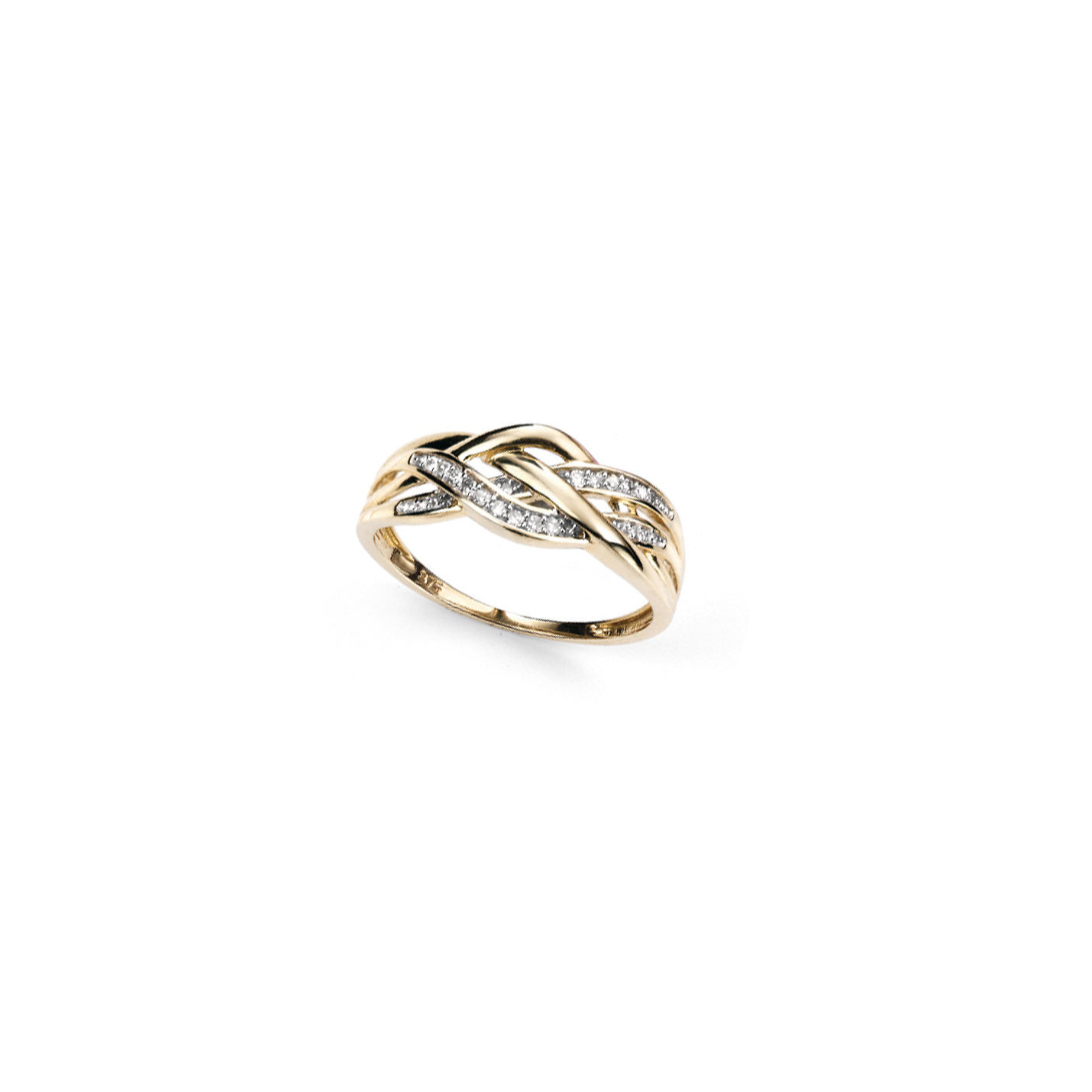 With the look of woven fabric this yellow gold and diamond ring is sure to turn heads!  9ct. yellow gold plaited diamond ring.