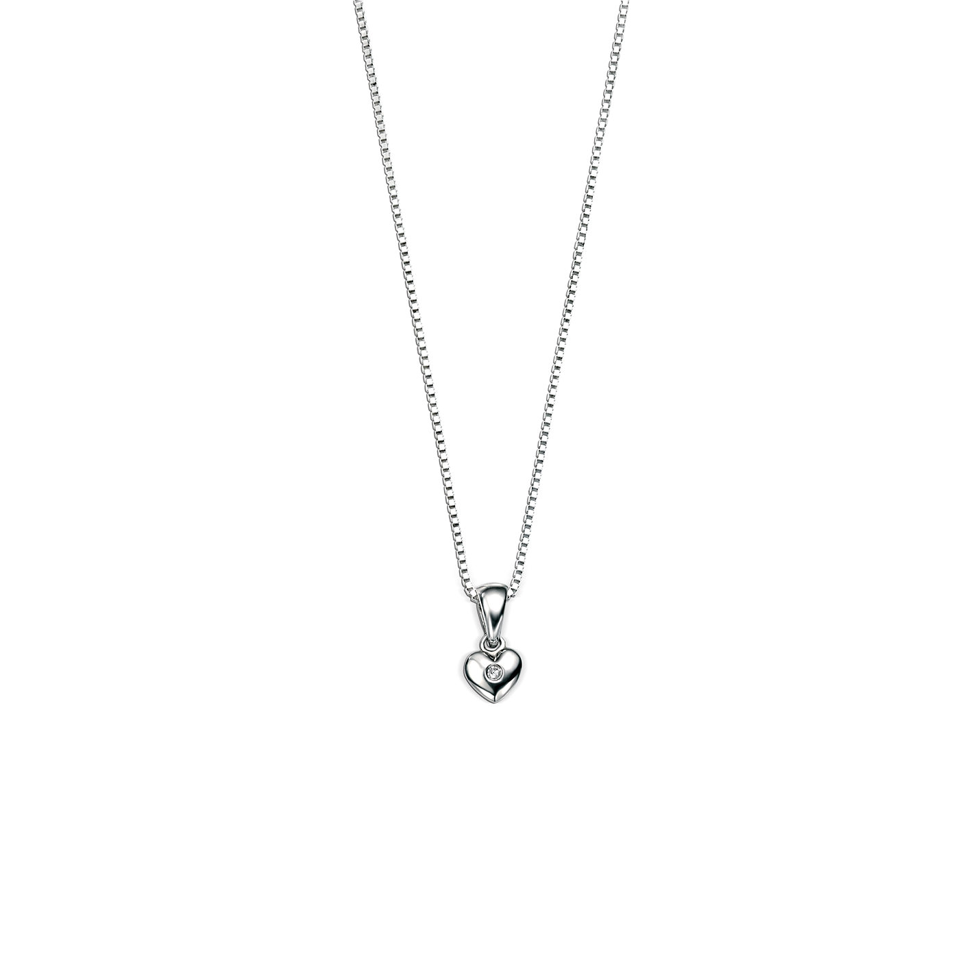 D For Diamond Silver Heart Necklace