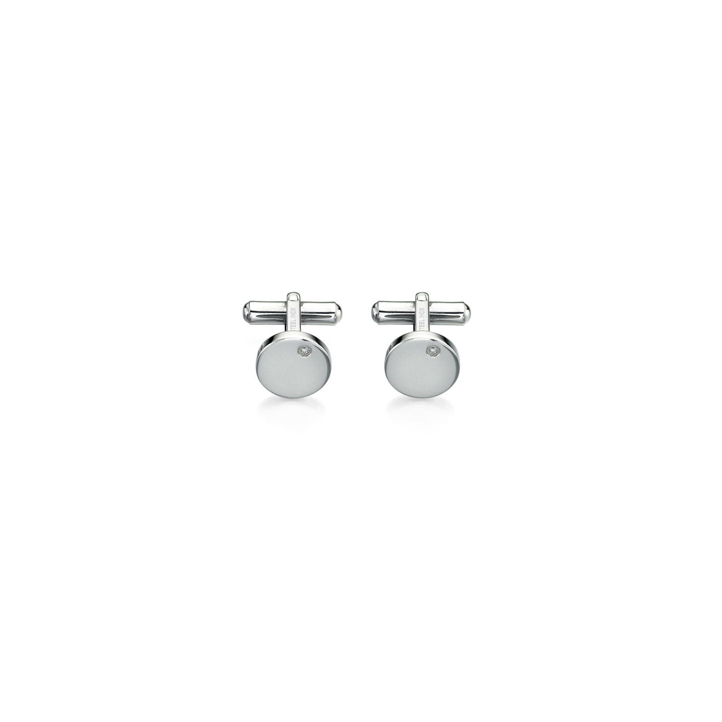 Round Fred Bennett Stainless steel cuff links with CZ dot.