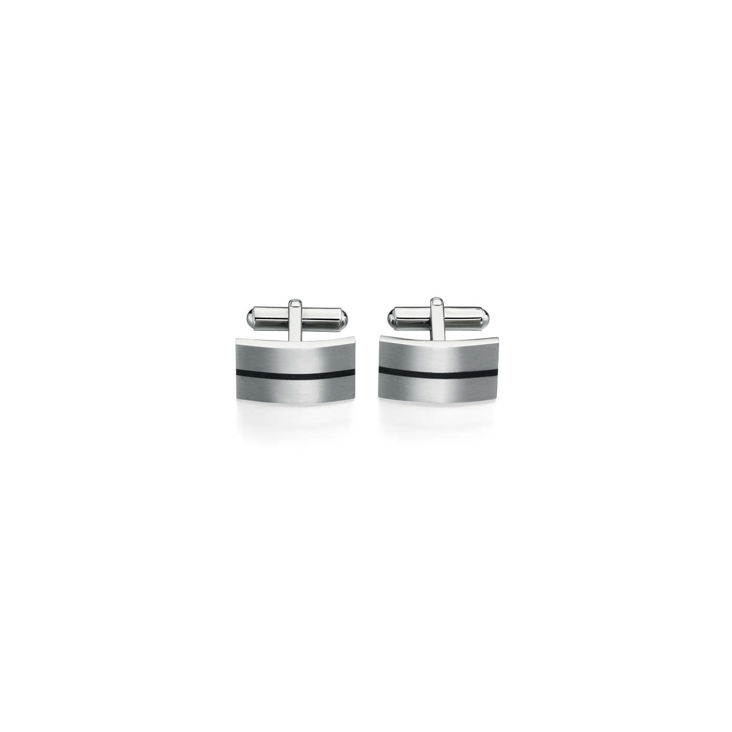 Curved rectangular Fred Bennett brushed Stainless steel cuff links with black enamel stripe.