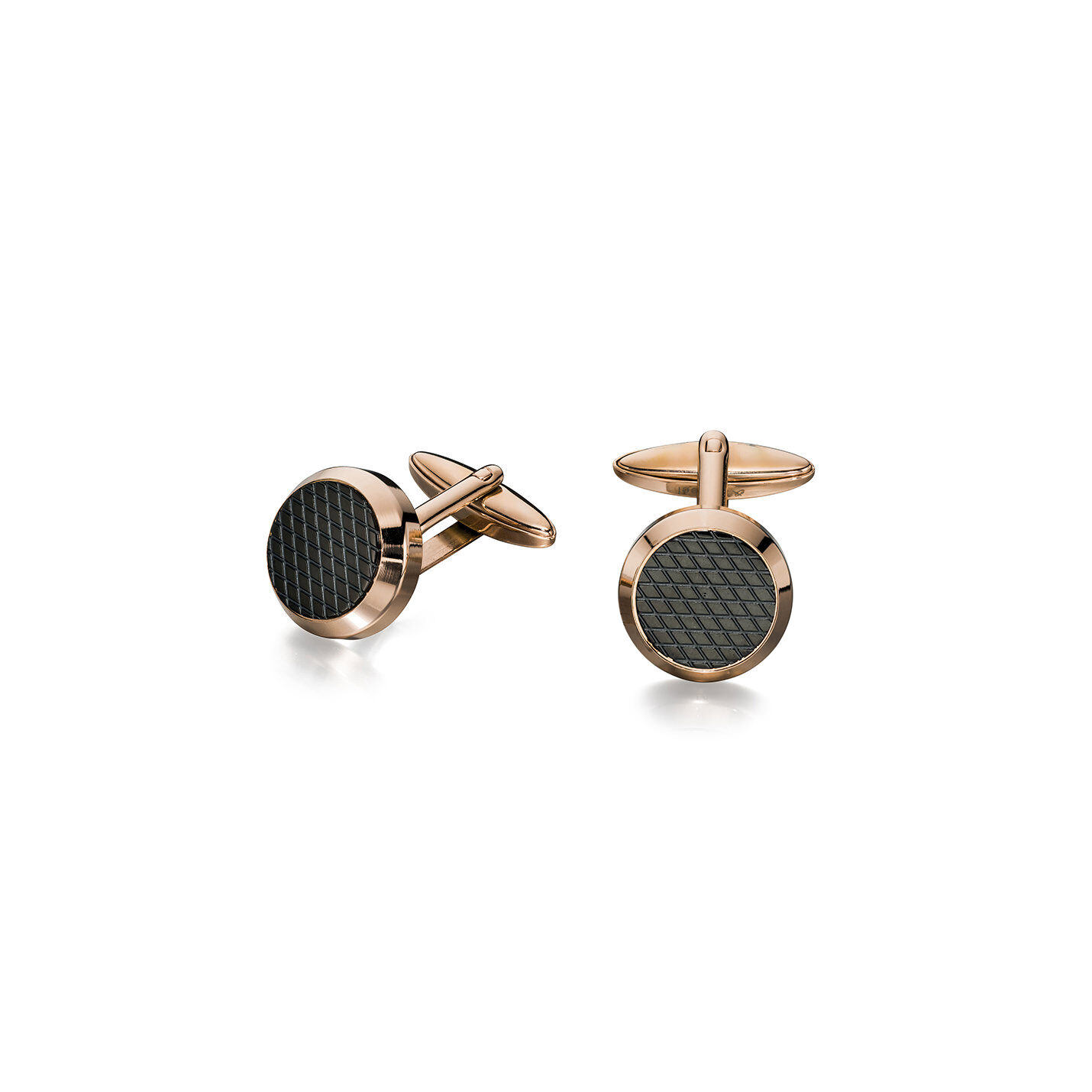 Round Fred Bennett cuff links: rose gold plated Stainless steel with black textured center.