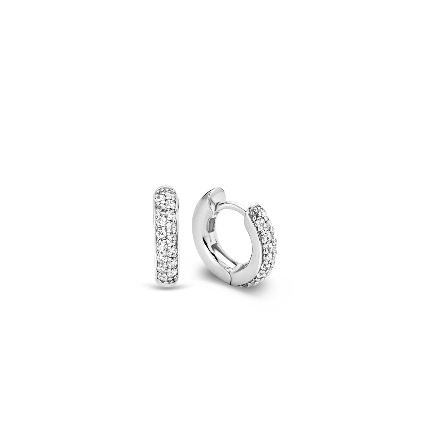 Ti Sento Silver & CZ Hoop Earrings