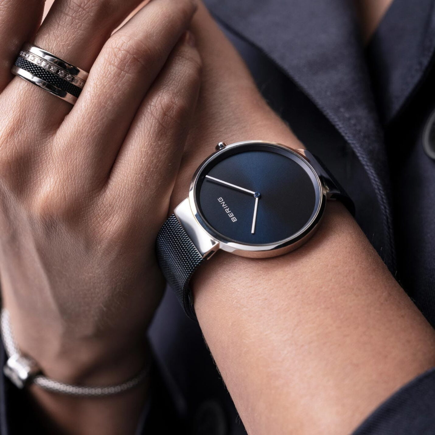 Bering Classic Polished Steel & Blue Mesh Watch