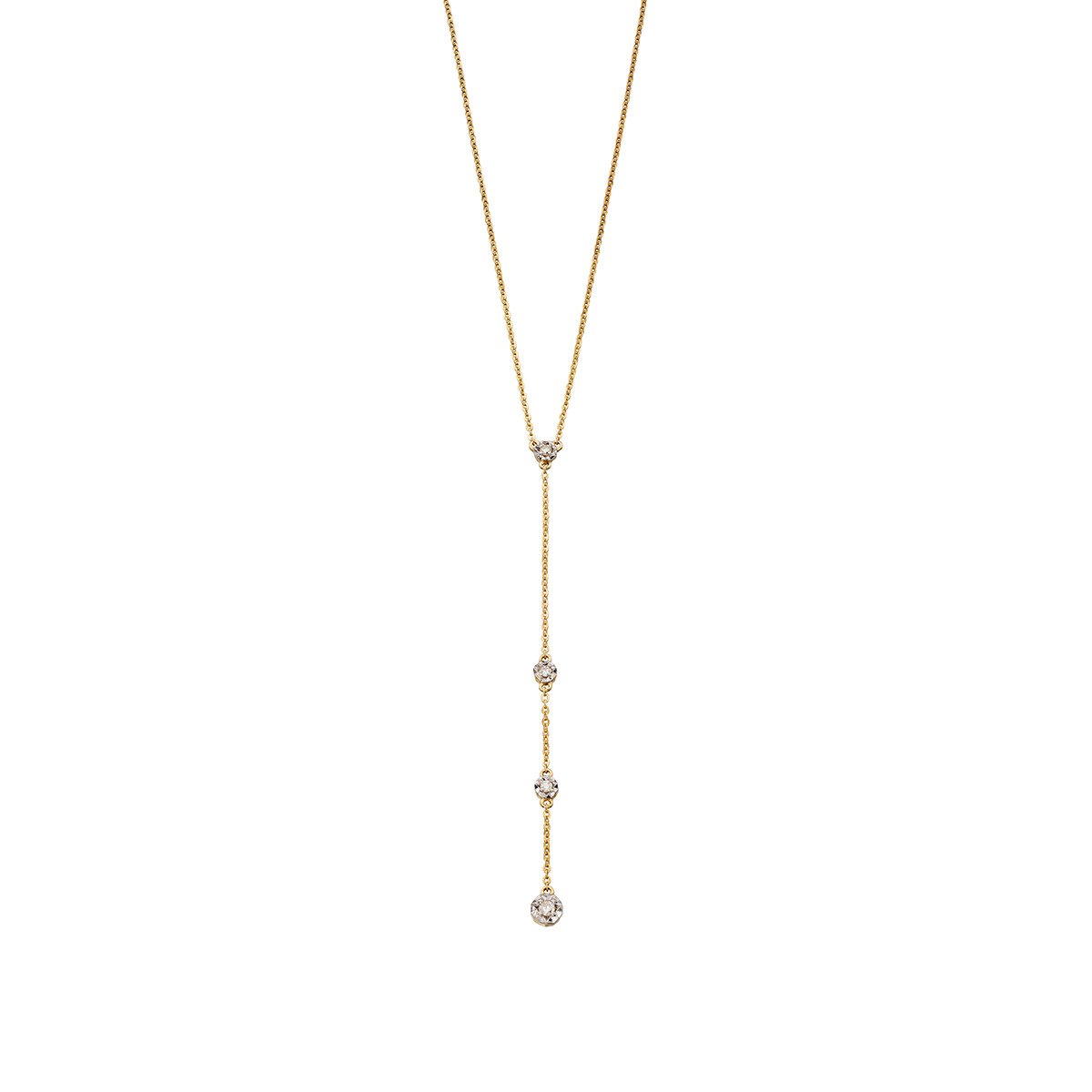Yellow Gold & Diamond Illusion Drop Necklace