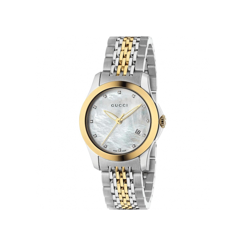 ce01b7204f4 Gucci G-Timeless Two-Tone Watch with Diamonds