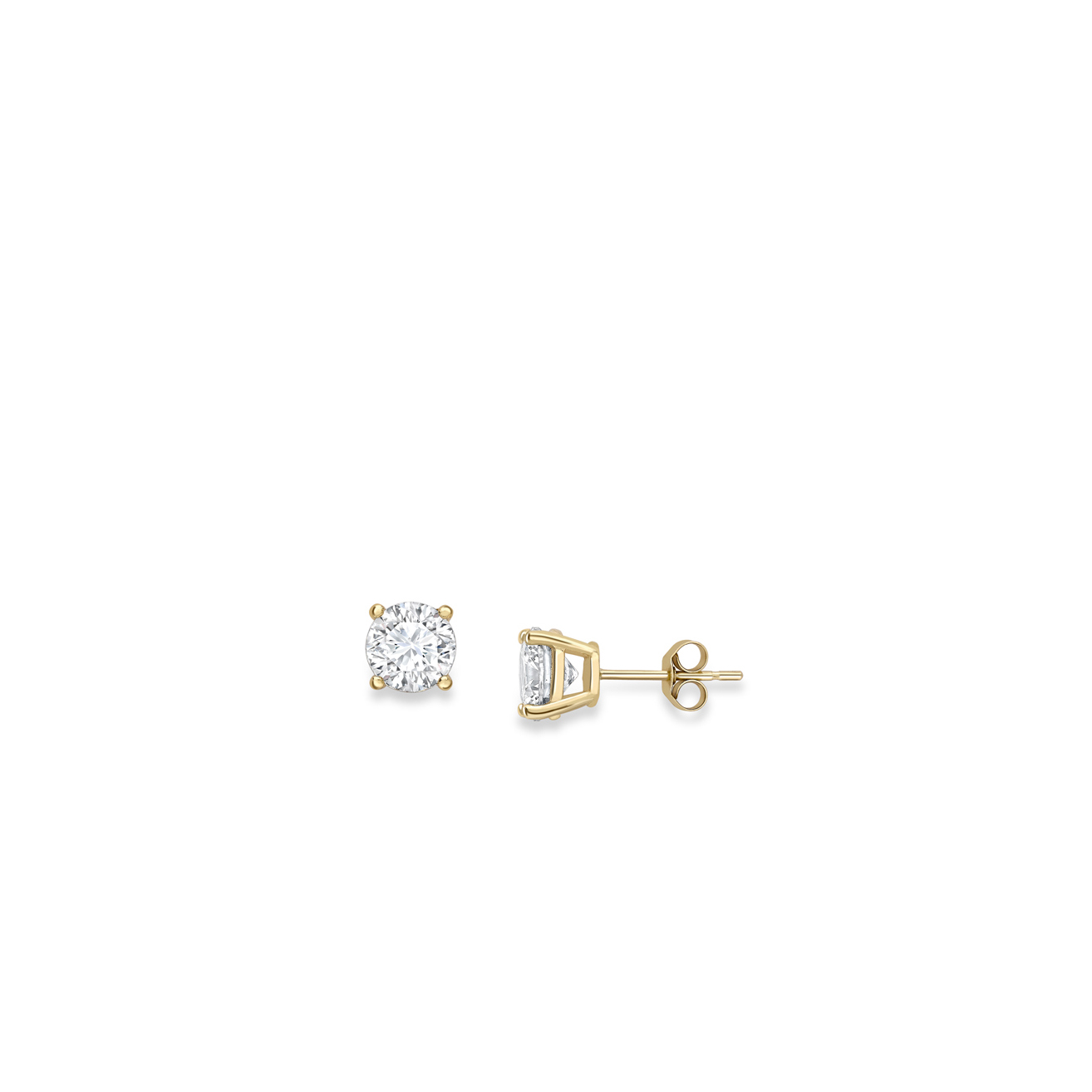 Yellow Gold Claw-Set CZ Stud Earrings