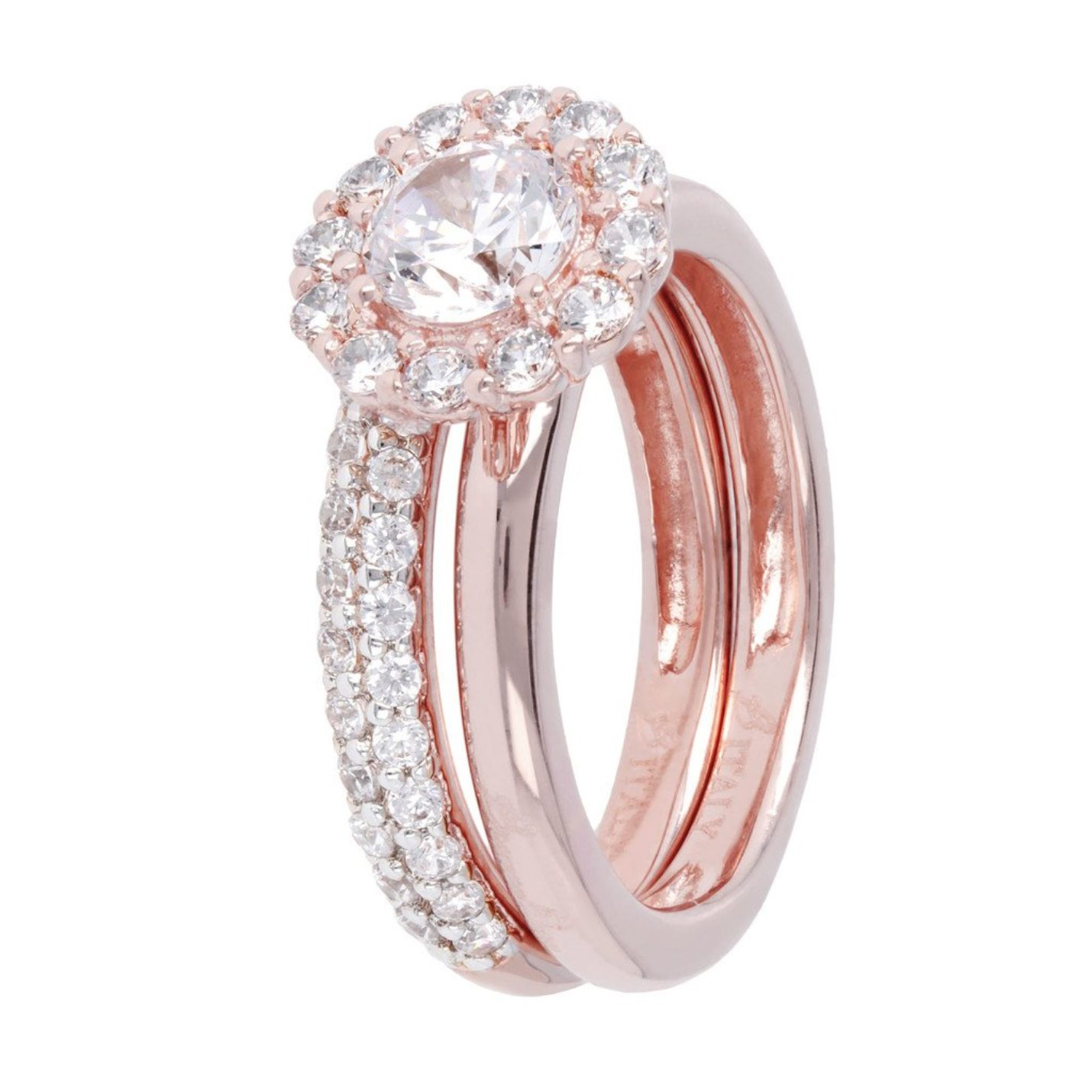 Bronzallure Rose Gold & CZ Ring Set