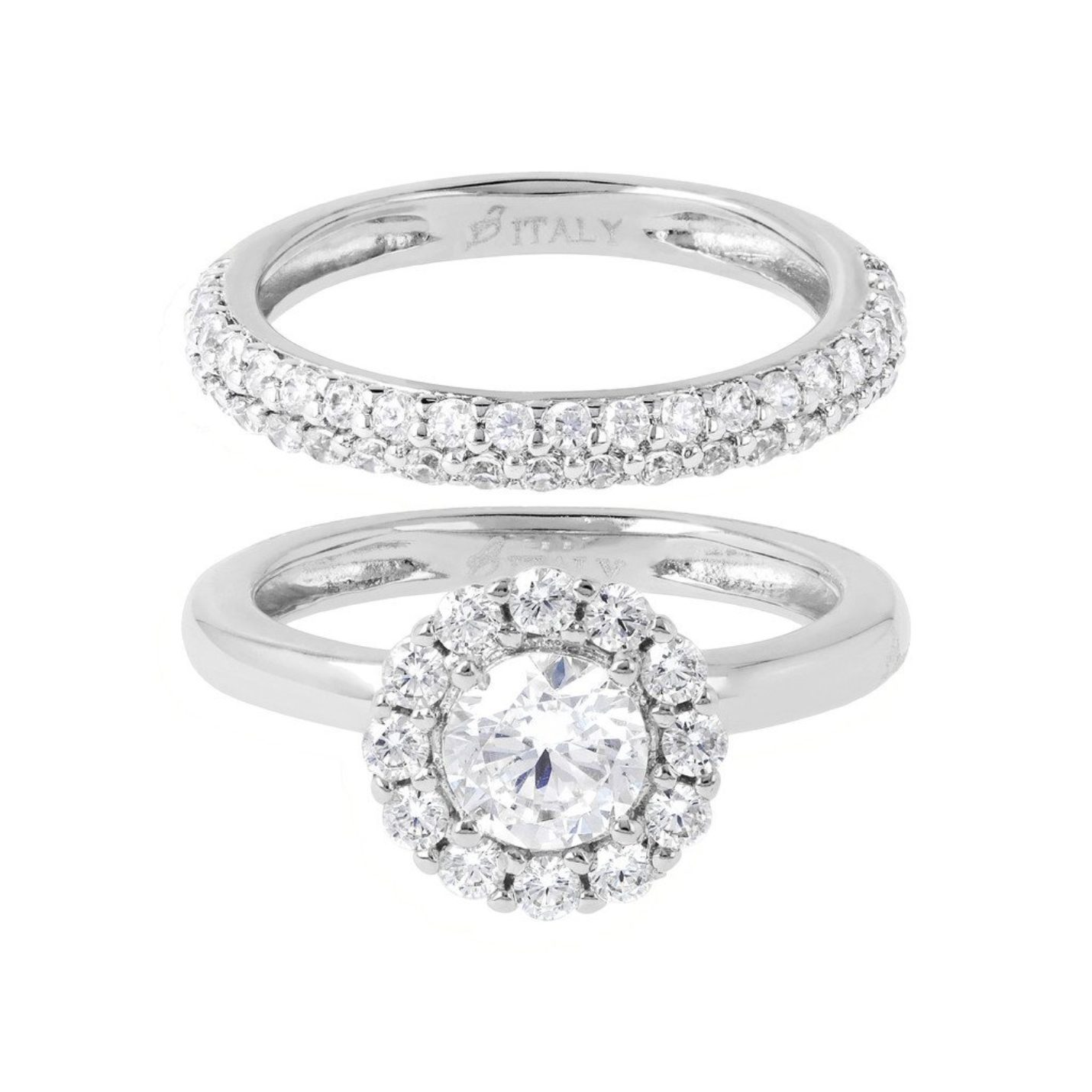 Bronzallure White Gold & CZ Ring Set