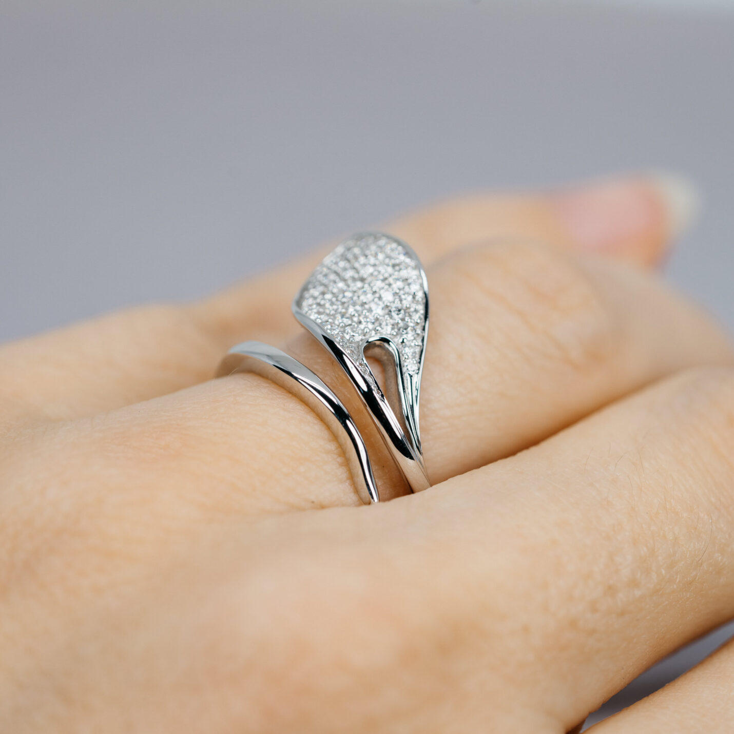 Diamond & White Gold Leaf Ring