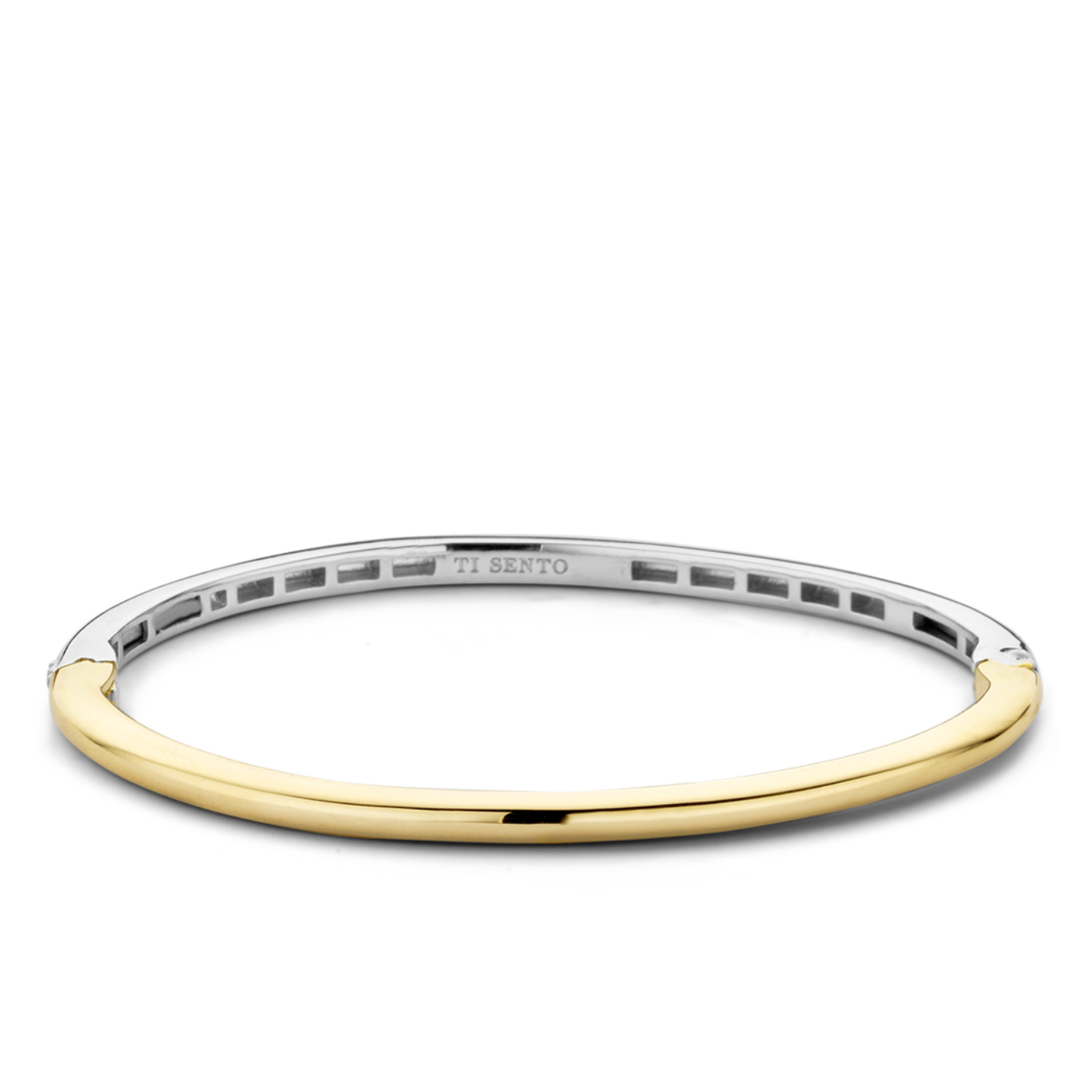Ti Sento Silver & Yellow Gold Thin Hinged Bangle