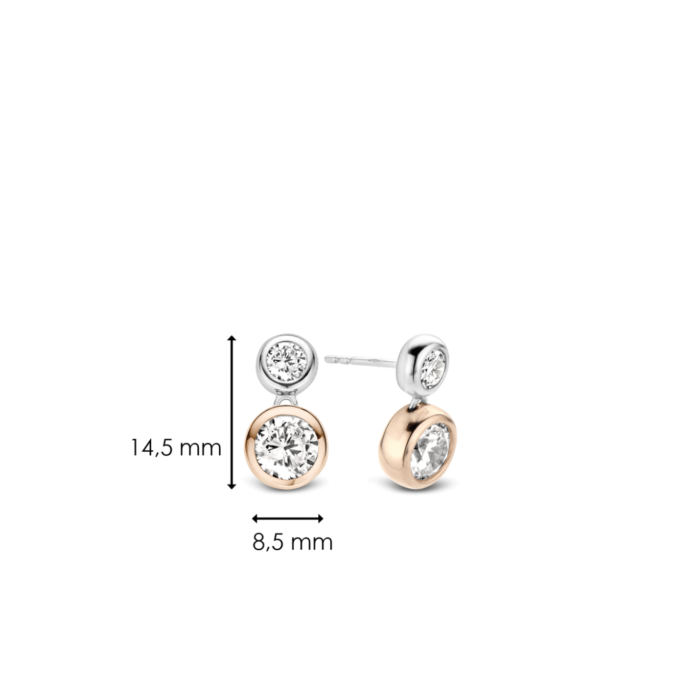 Ti Sento CZ & Rose Gold Stud Earrings
