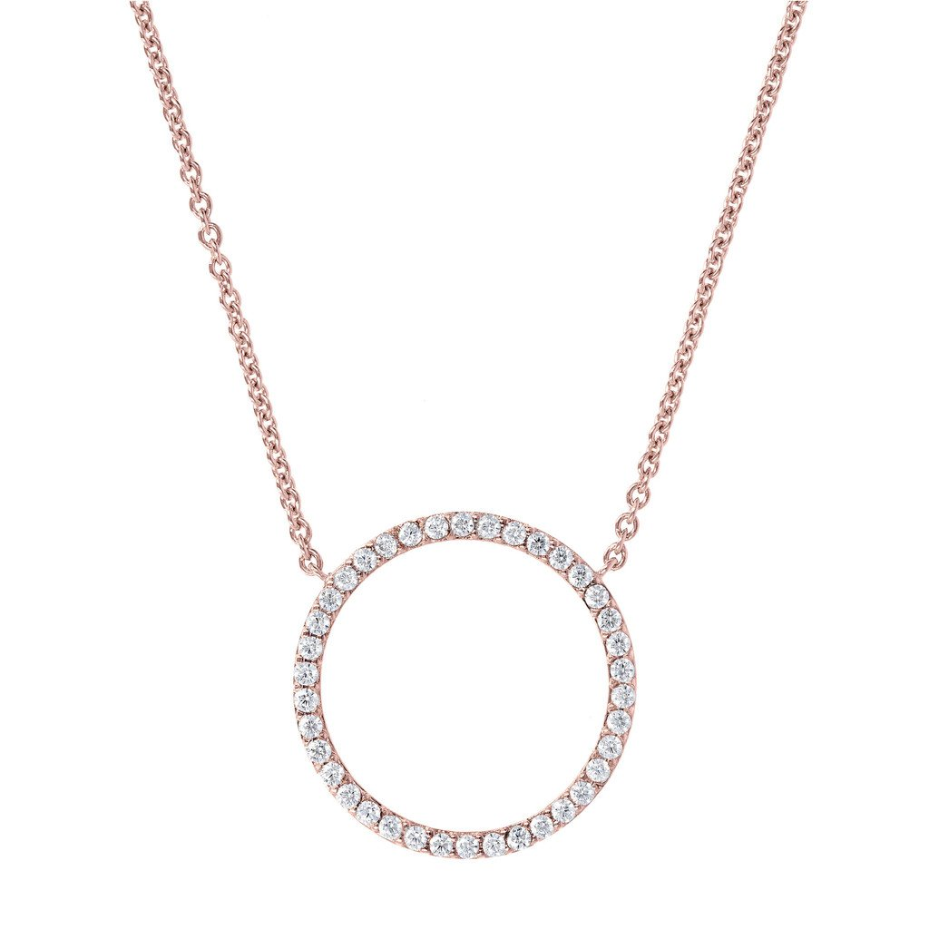 Bronzallure Rose Gold & CZ Open Circle Necklace