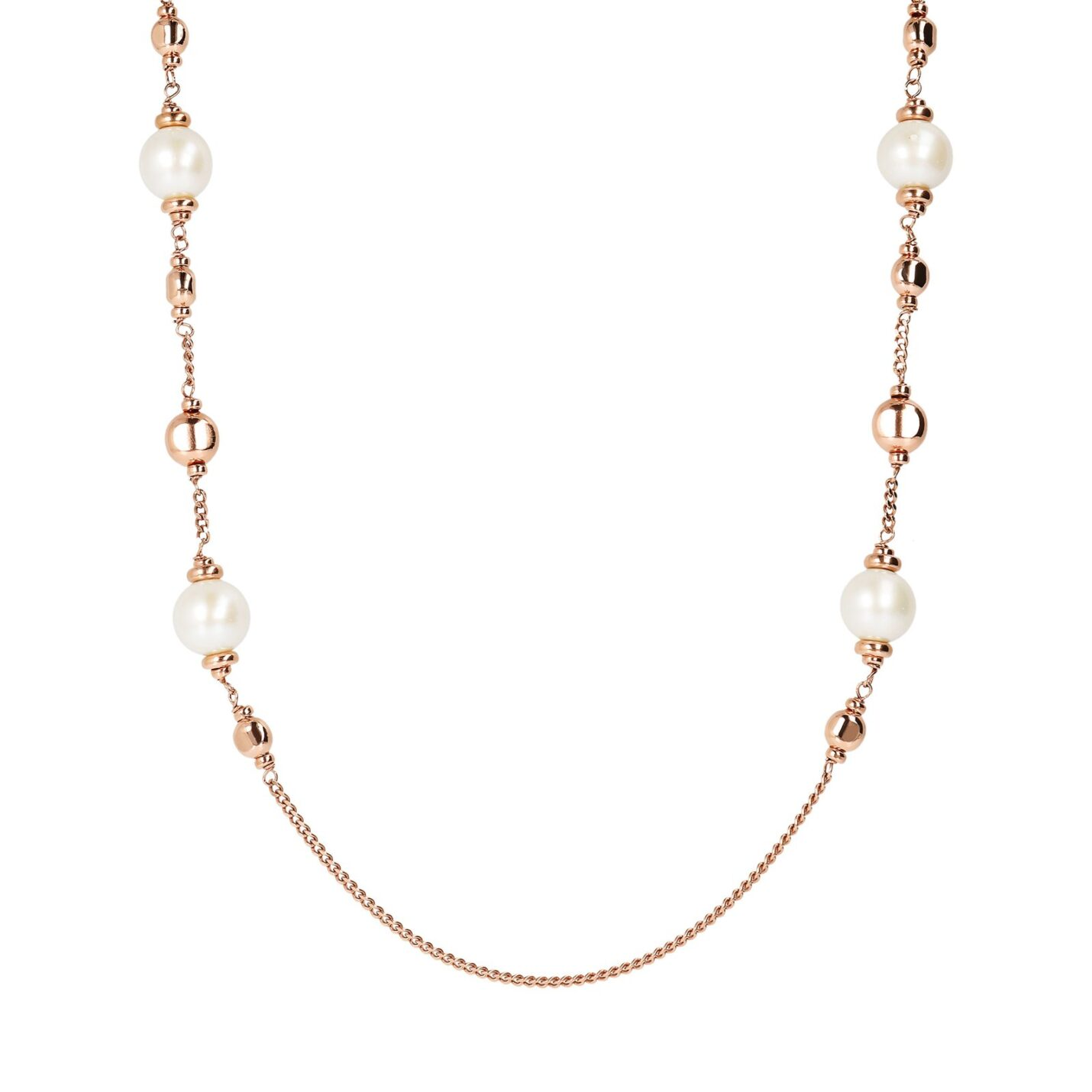 Bronzallure Long Rose Gold Necklace with Pearl