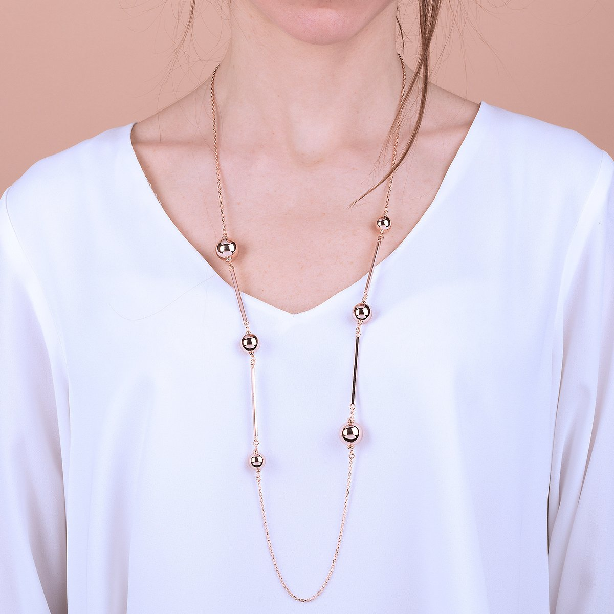 Bronzallure Long Rose Gold Necklace