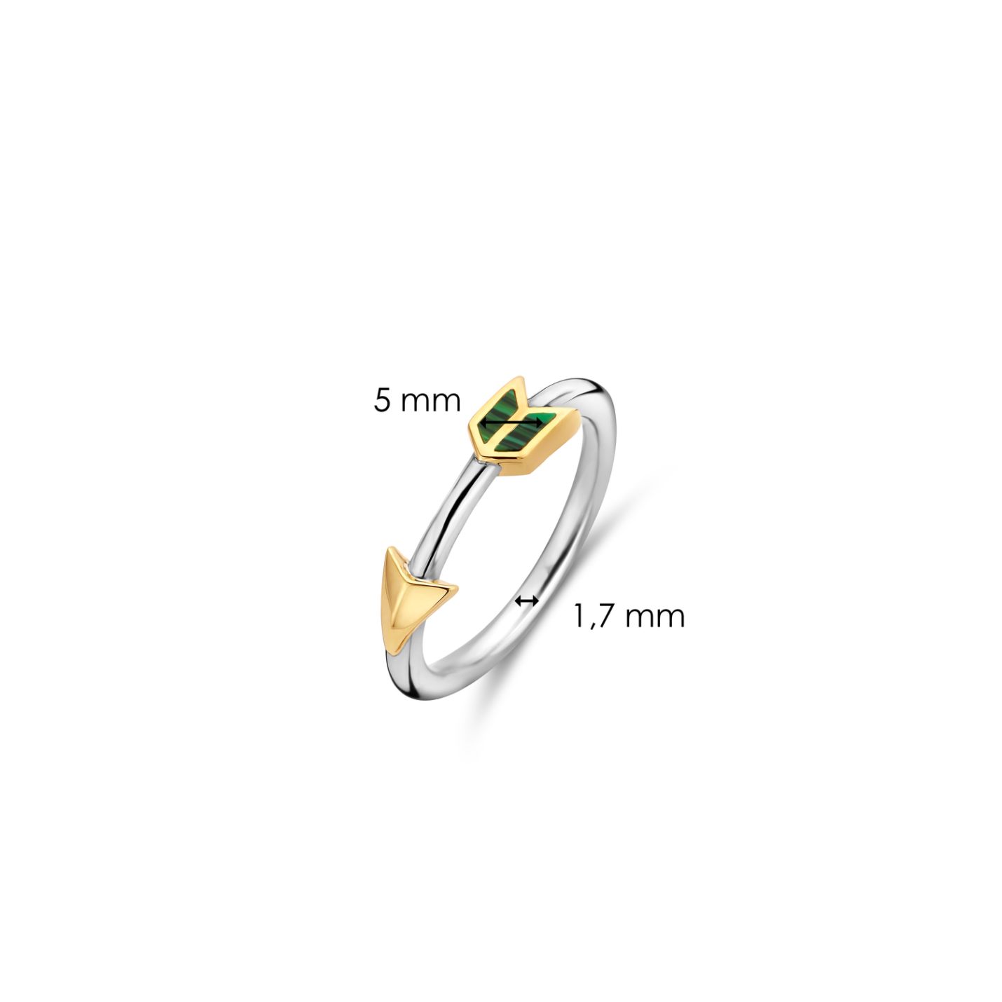 Ti Senton Malachite Arrow Ring 12198MA