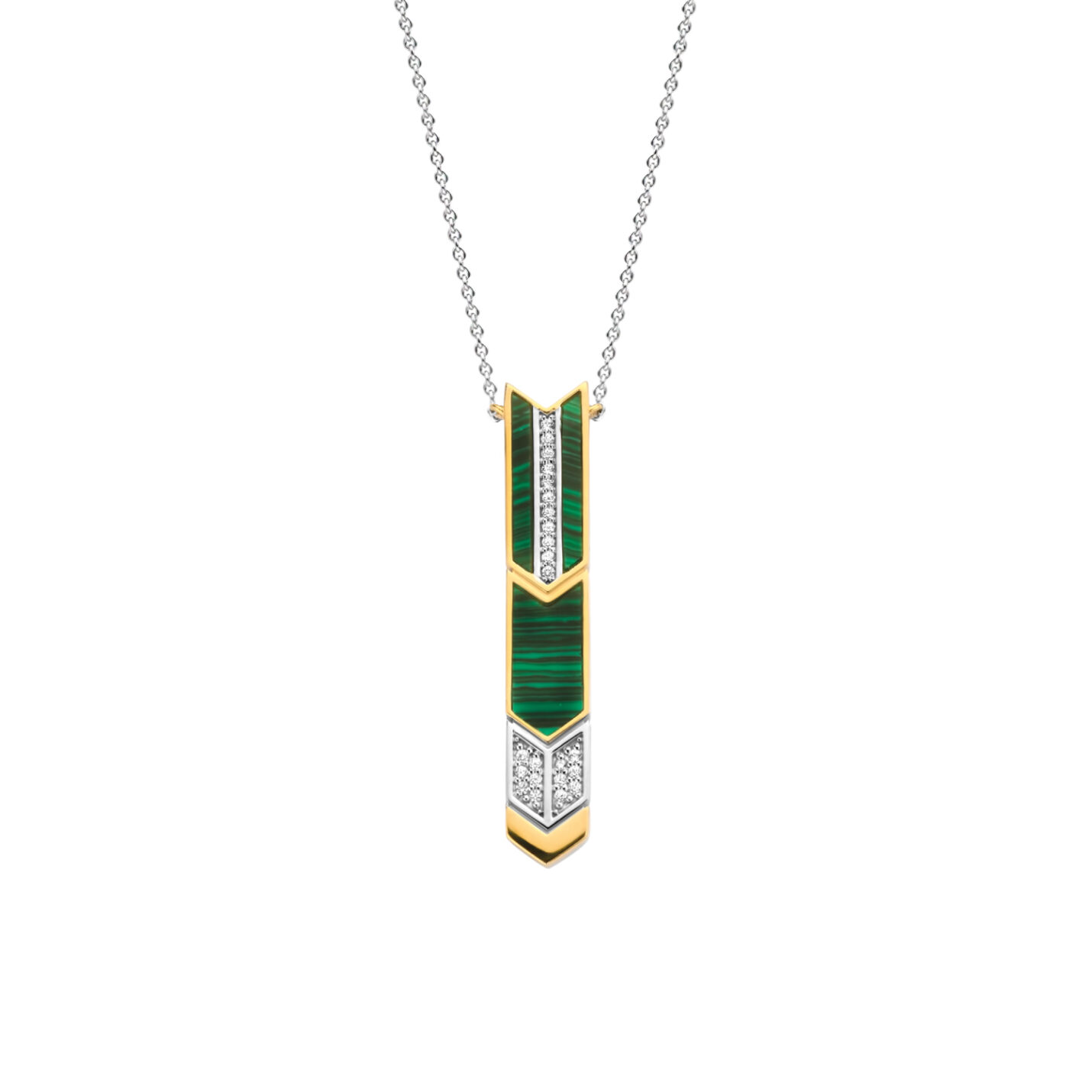 Ti Sento Malachite Arrow Necklace 3954MA