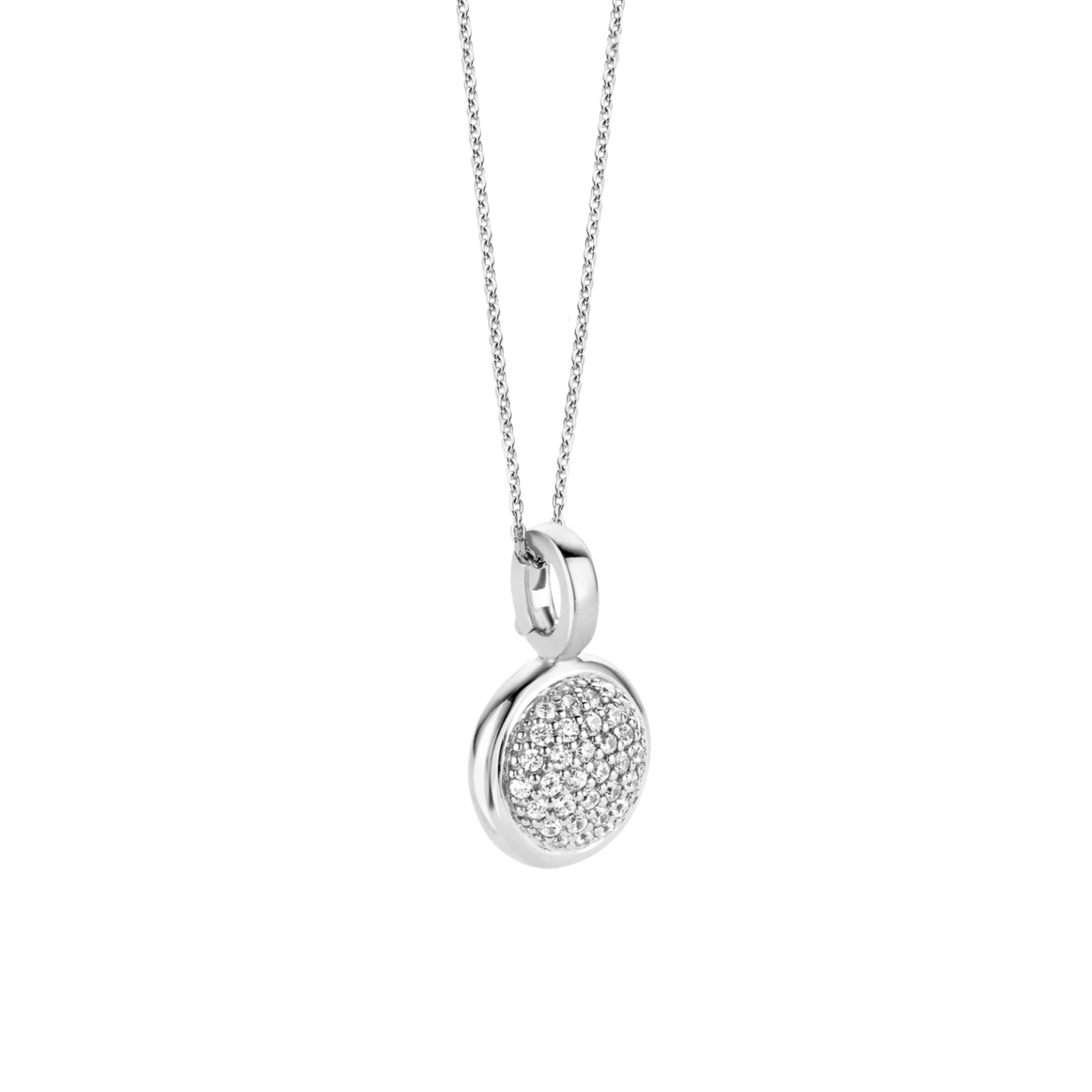 Ti Sento Small Silver Pave Disc Necklace