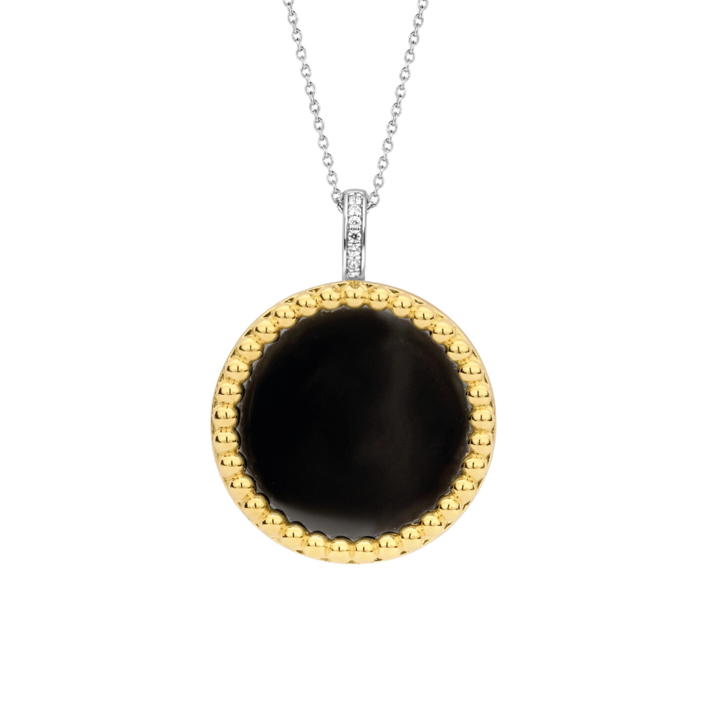 Ti Sento Yellow Gold & Onyx Necklace