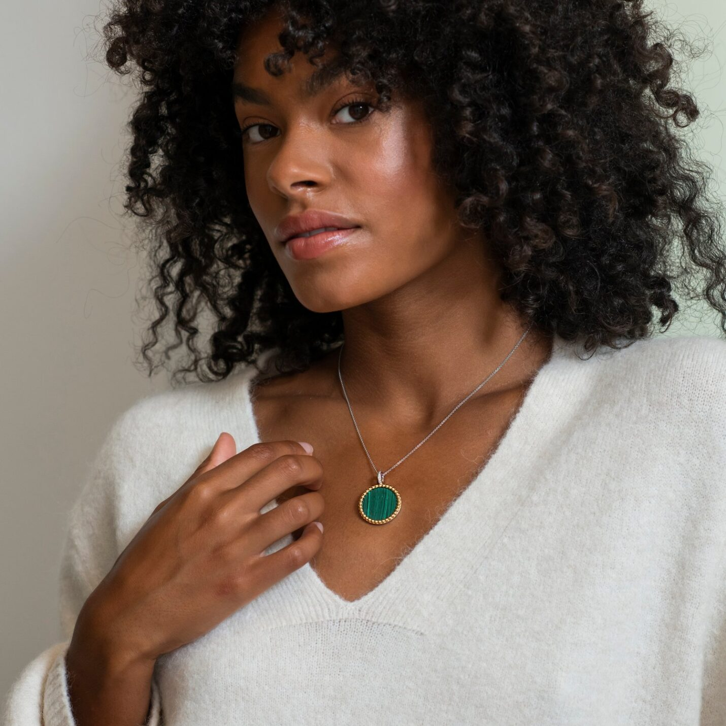 Ti Sento Green Malachite Disc Necklace