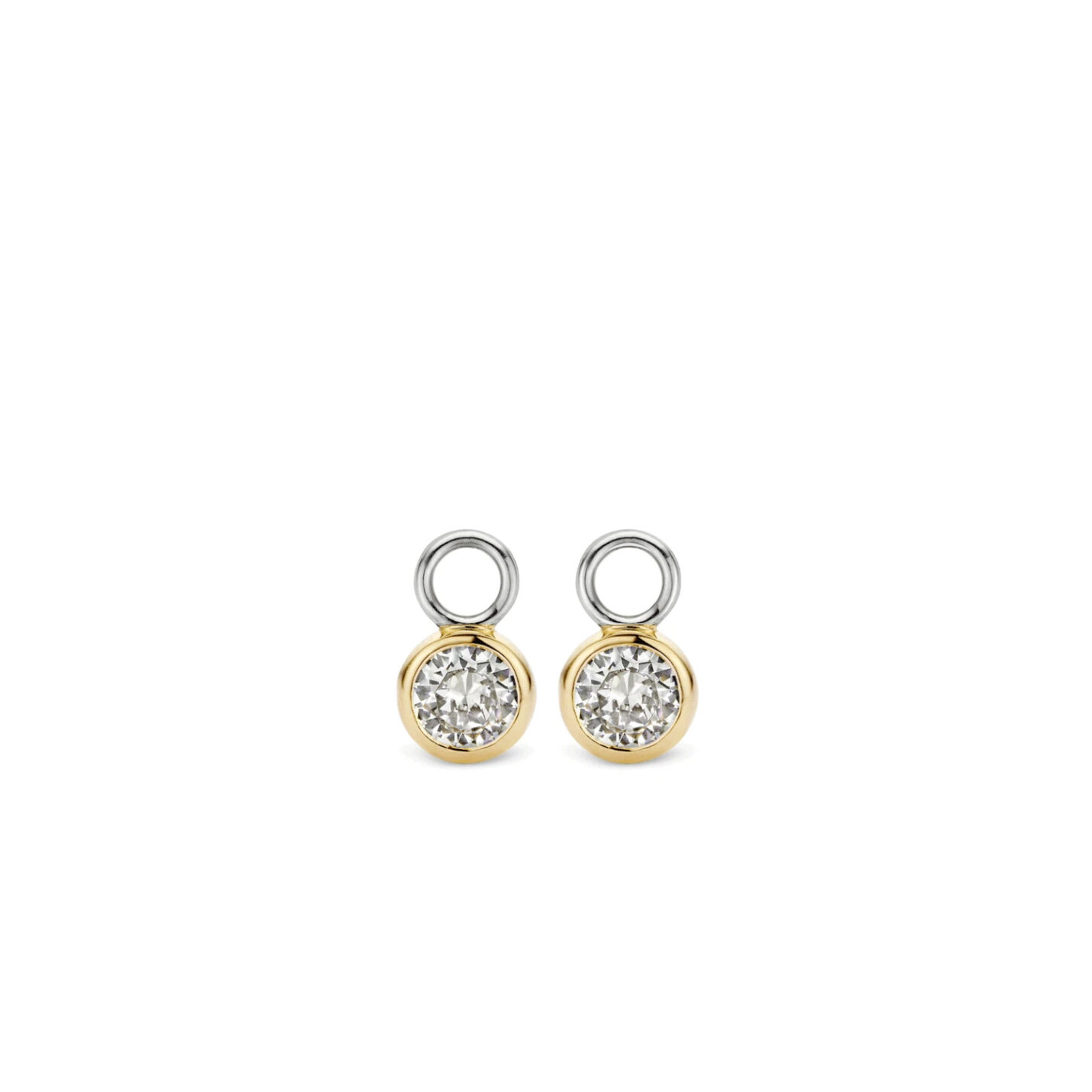 Ti Sento Yellow Gold & CZ Charm Earrings