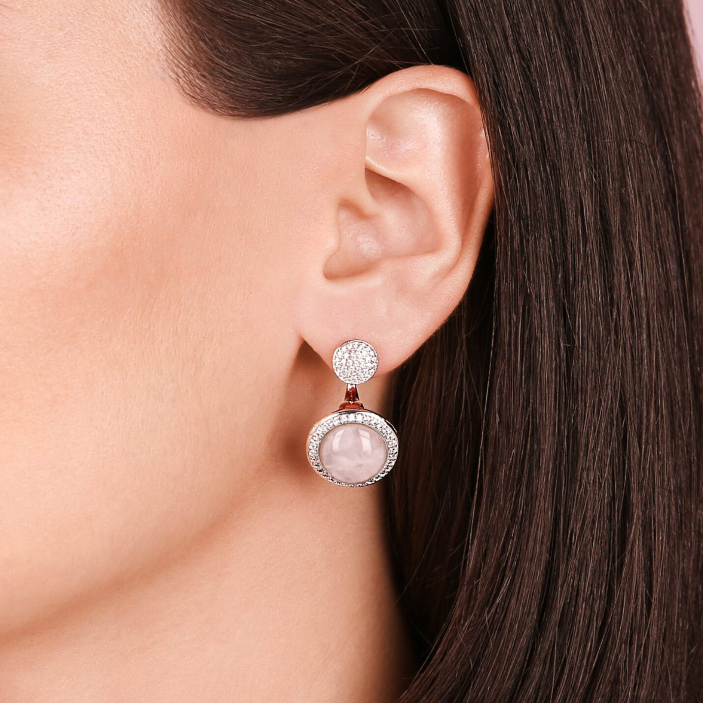 Bronzallure Rose Quartz & CZ Double Earrings