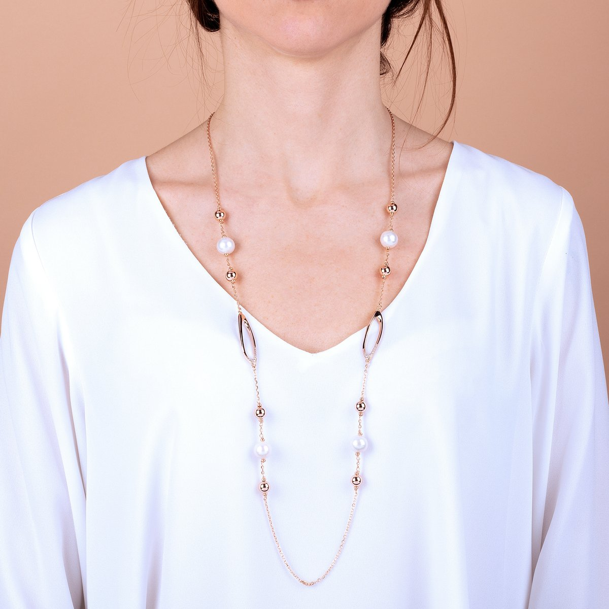 Bronzallure Rose Gold & Pearl Necklace