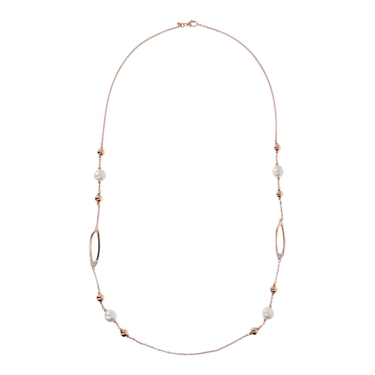 Bronzallure Long Rose Gold & Pearl Necklace