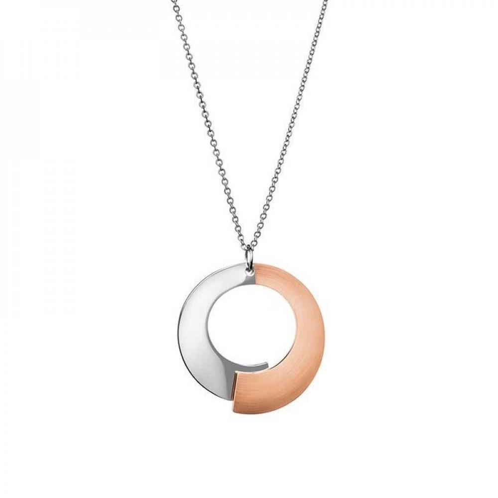 Calvin Klein Steel & Rose Gold Open Circle Necklace