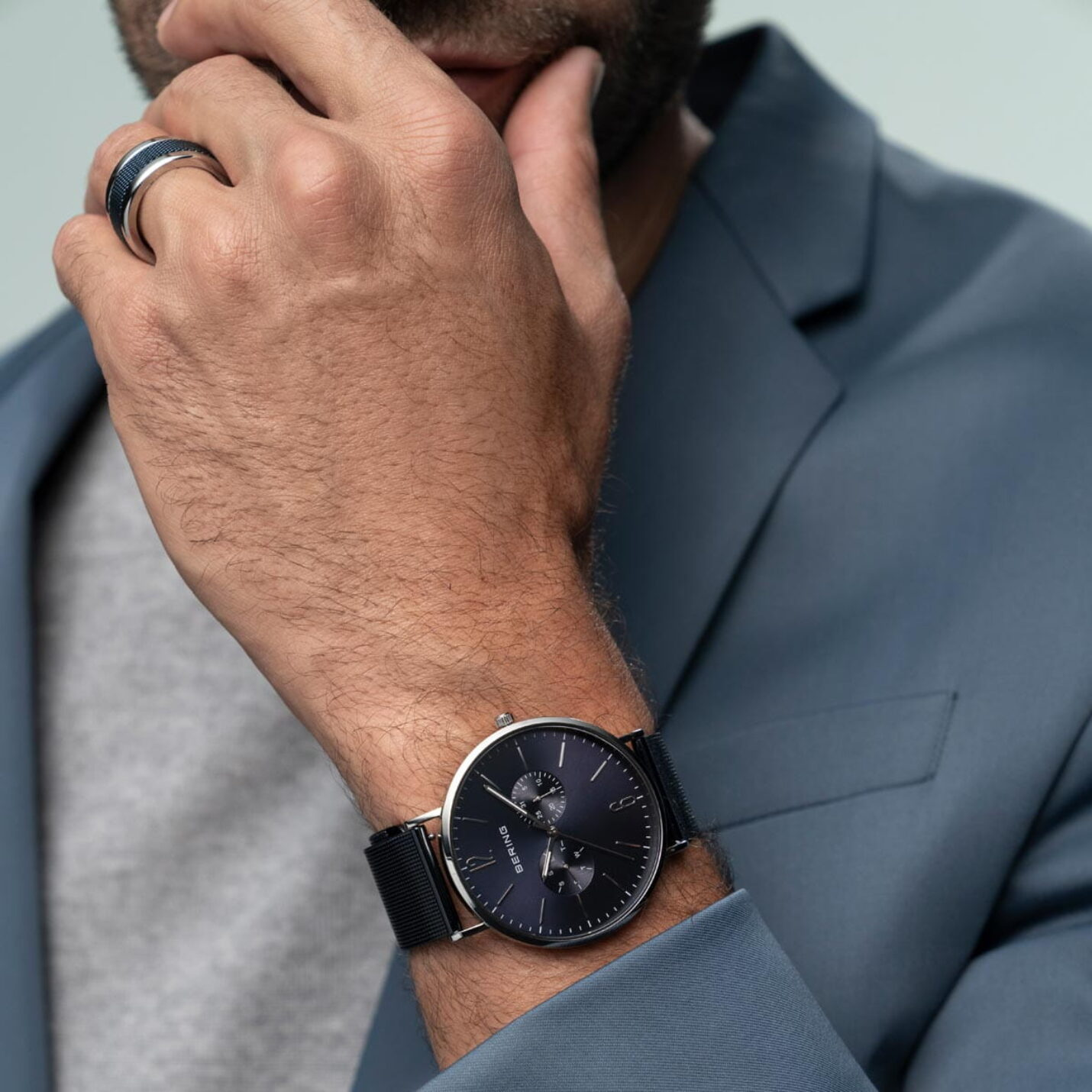 Bering Classic Watch – Navy & Polished Steel