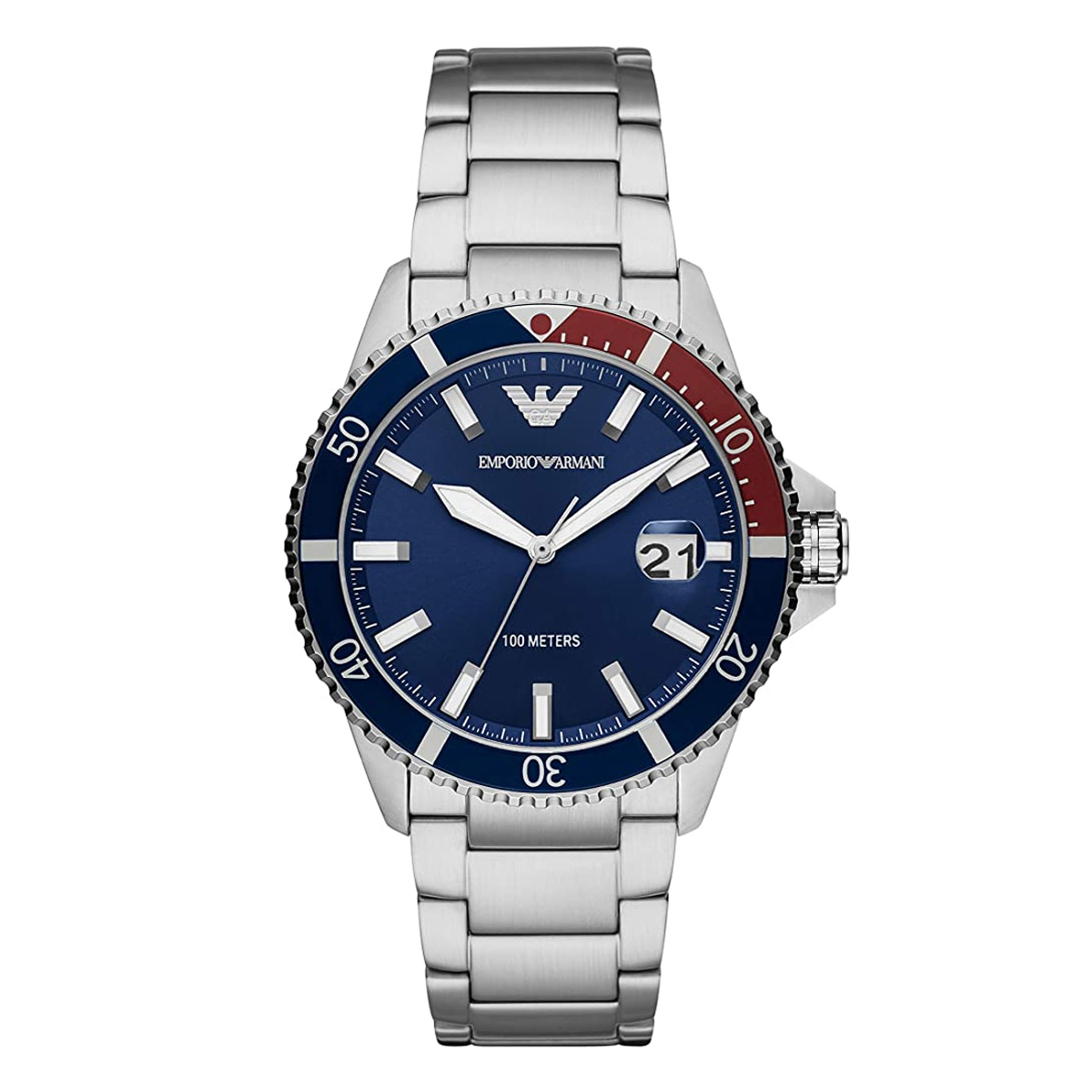 Emporio Armani Stainless Steel Watch - Blue Dial